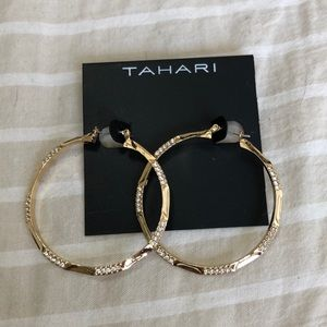 Tahari gold hoop earrings